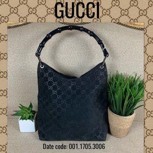 Gucci shoulder bag suede black handbag bamboo